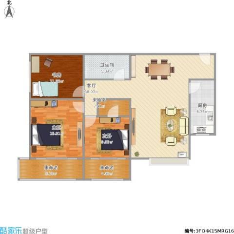 府东美奥花苑3室1厅1卫1厨132.00㎡户型图