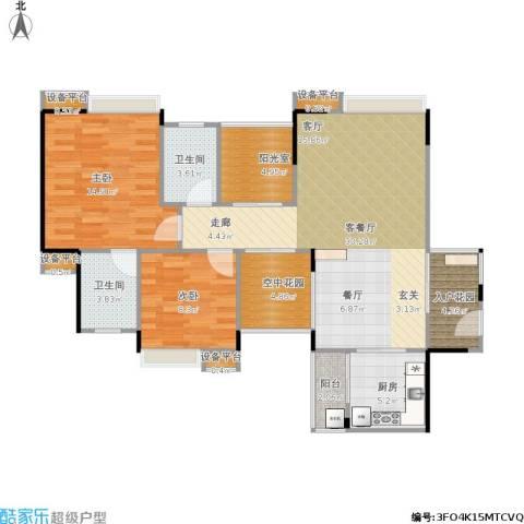 世纪城玫瑰公馆2室1厅2卫1厨115.00㎡户型图