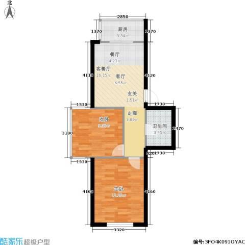 水木康桥2室1厅1卫1厨50.00㎡户型图