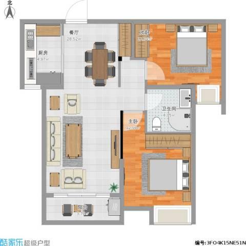 沂龙湾慧园2室1厅1卫1厨92.00㎡户型图