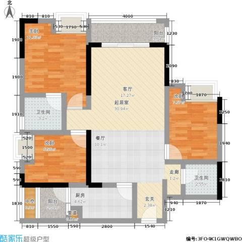 宗颐・香山郦居3室0厅2卫1厨97.00㎡户型图