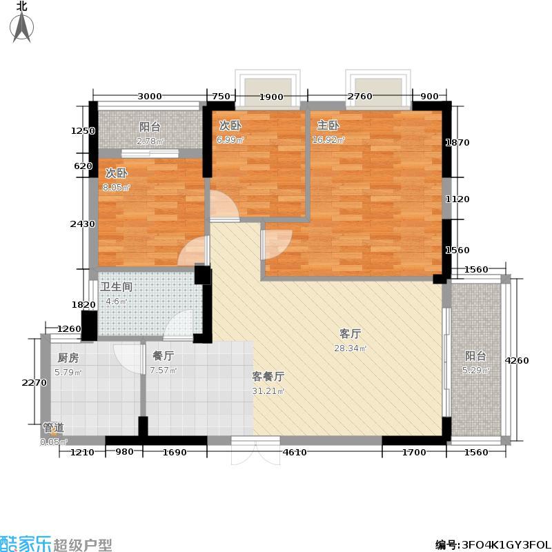 博城帝景107.00㎡1户型