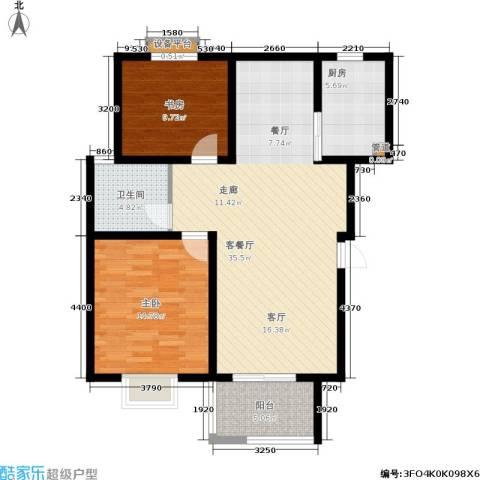 自然居家园2室1厅1卫1厨86.97㎡户型图