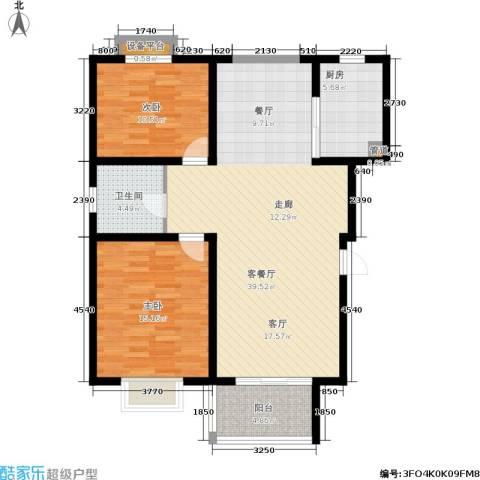 自然居家园2室1厅1卫1厨92.09㎡户型图