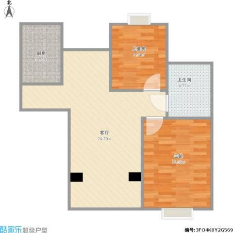 浦江丽都2室1厅1卫1厨74.00㎡户型图