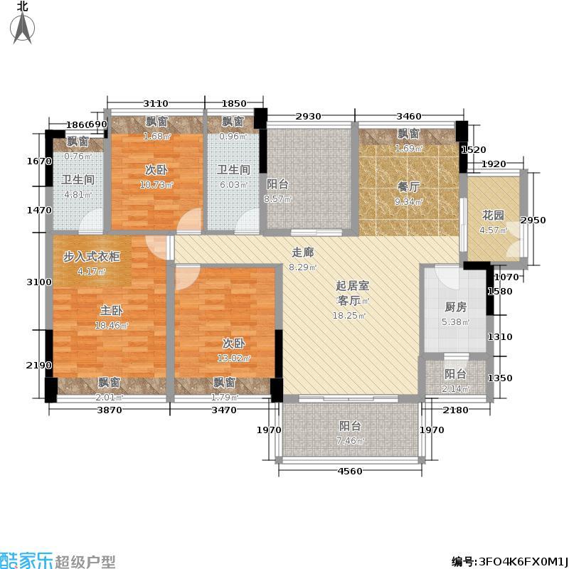 长虹百荟花园户型3室2卫1厨