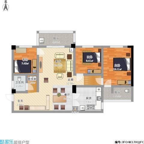 太子花苑3室1厅1卫1厨126.00㎡户型图