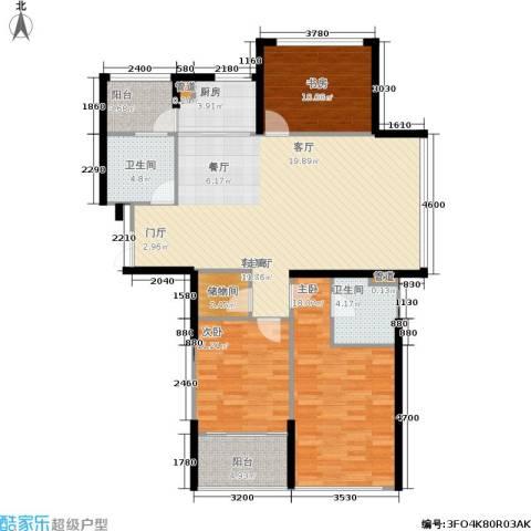 嘉联华铭座.宝善公寓3室1厅2卫1厨128.00㎡户型图