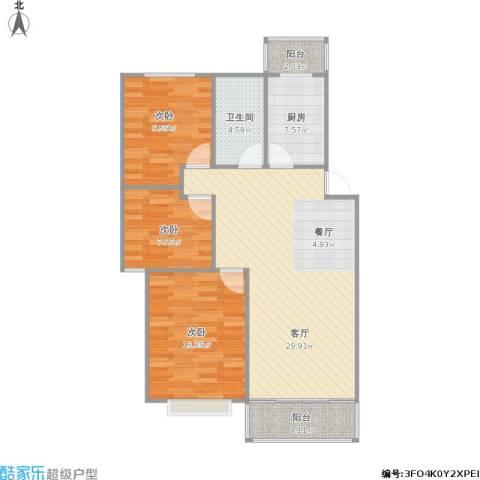 水榭华庭3室1厅1卫1厨103.00㎡户型图