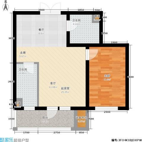 湖畔兰亭・荣域1室0厅2卫0厨76.00㎡户型图