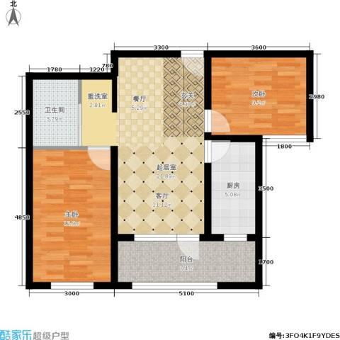 新星宇和悦2室0厅1卫1厨87.00㎡户型图