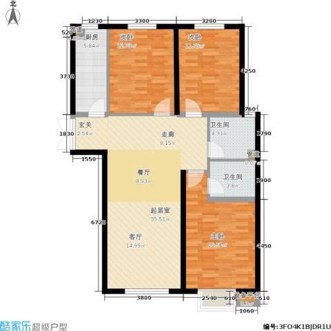 湖畔兰亭・荣域3室0厅2卫1厨127.00㎡户型图