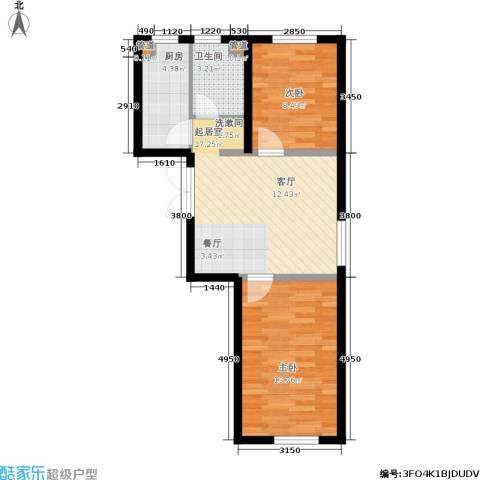 湖畔兰亭・荣域2室0厅1卫1厨68.00㎡户型图