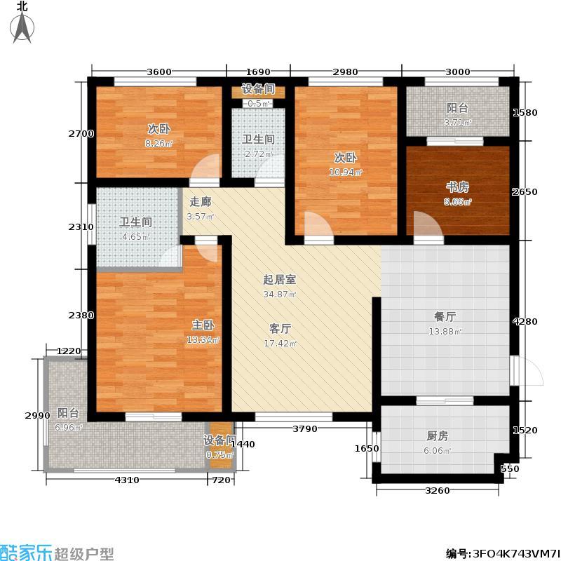 清渭公馆清渭公馆 4室2厅2卫 141.37户型4室2厅2卫