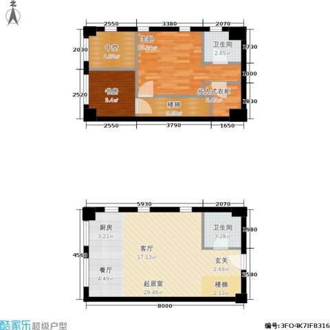 桃源水榭・叠萃2室0厅2卫0厨63.35㎡户型图
