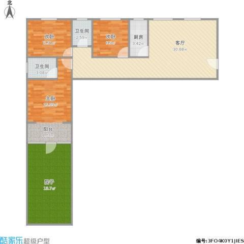 辰龙广场3室1厅2卫1厨121.00㎡户型图
