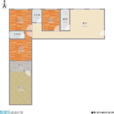 辰龙广场3室1厅2卫1厨117.00㎡户型图