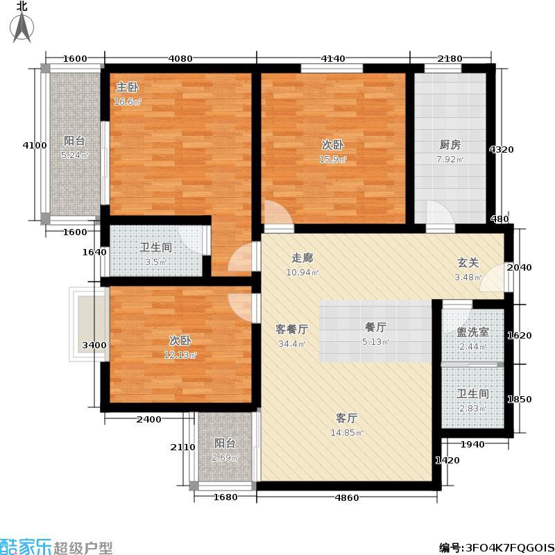 广厦城市之巅榕树公馆户型3室1厅2卫1厨