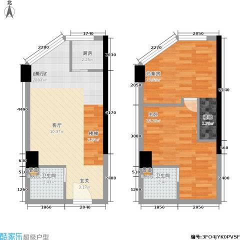 中民长青里1室0厅2卫1厨53.22㎡户型图