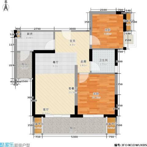 绵阳CBD万达广场2室1厅1卫1厨79.00㎡户型图