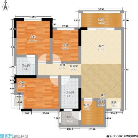 宗颐・香山郦居3室0厅2卫1厨109.00㎡户型图