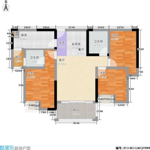 宗颐・香山郦居3室0厅2卫1厨93.00㎡户型图