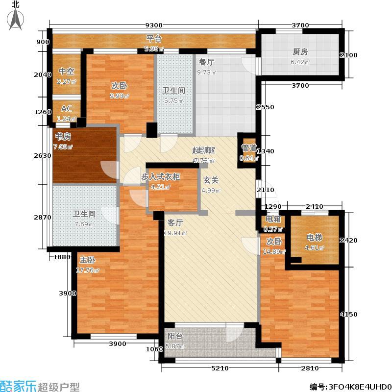 绿城百合花园163.00㎡H户型 四室两厅两卫户型4室2厅2卫