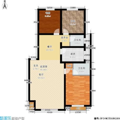 佰仕・印象3室0厅2卫1厨137.00㎡户型图