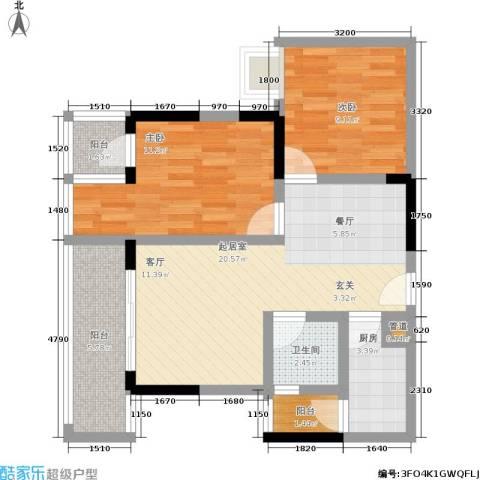宗颐・香山郦居2室0厅1卫1厨83.00㎡户型图