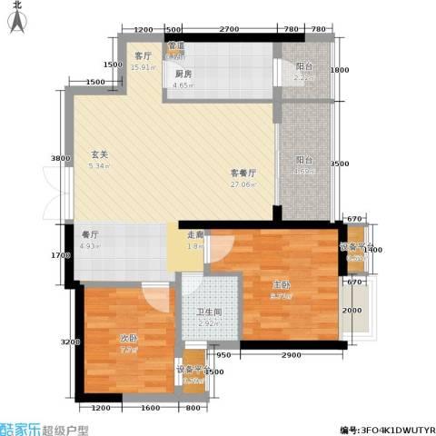 绵阳CBD万达广场2室1厅1卫1厨81.00㎡户型图