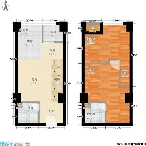中民长青里1室0厅2卫1厨54.22㎡户型图