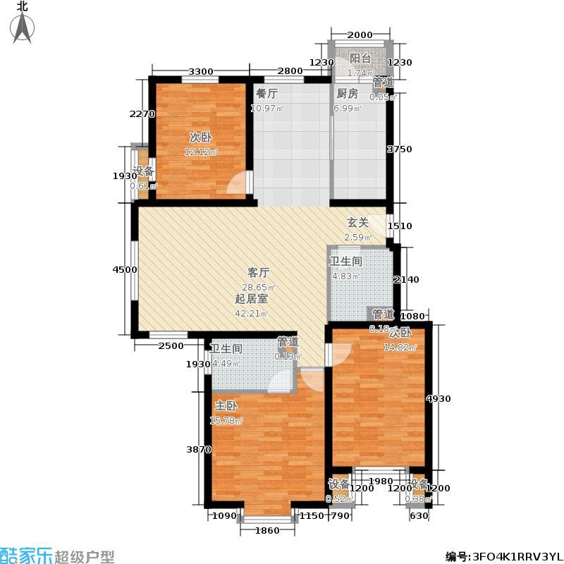 北京奥林匹克花园130.81㎡ⅢB2边户型3室2厅