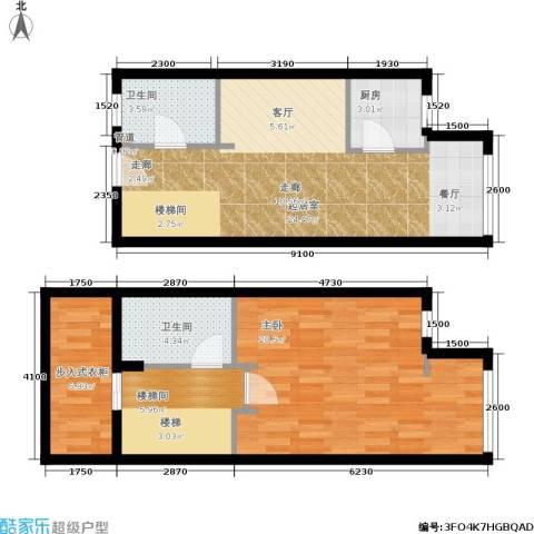 麦迪逊花园二期1室0厅2卫1厨97.00㎡户型图