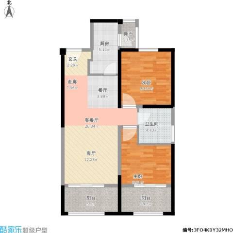 中铁缇香郡2室1厅1卫1厨95.00㎡户型图