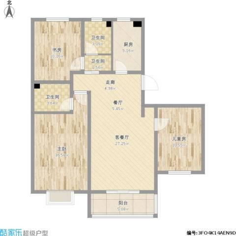 中国铁建・原香漫谷3室1厅3卫1厨118.00㎡户型图