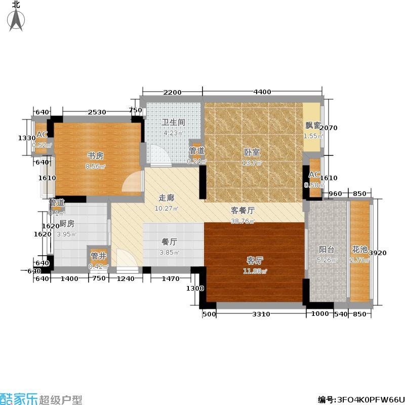 首创芭蕾雨逸景77.74㎡首创·芭蕾雨逸景洋房M2、M3-B户型2室2厅