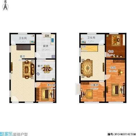 幸福小区4室2厅2卫1厨241.00㎡户型图