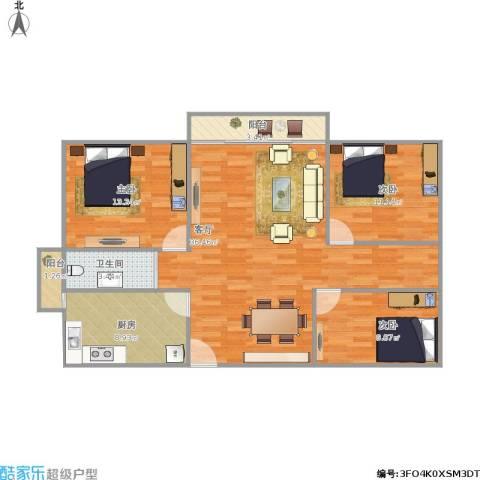 丰泽湖山庄3室1厅1卫1厨117.00㎡户型图