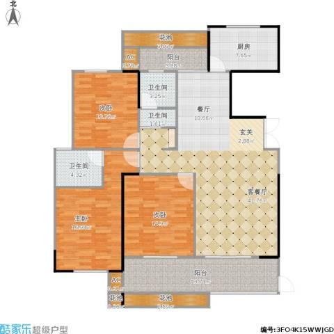 正荣御品世家3室1厅3卫1厨174.00㎡户型图