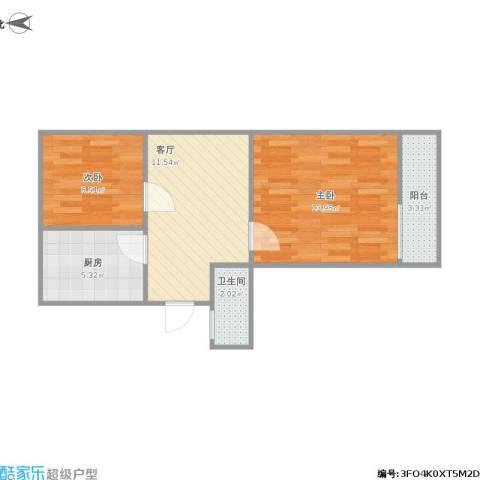 胜利村2室1厅1卫1厨65.00㎡户型图