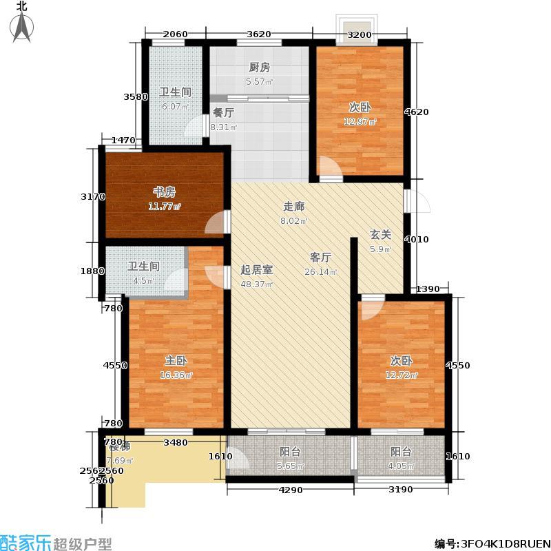 盛世清华园146.00㎡30#一单元西七户4室户型