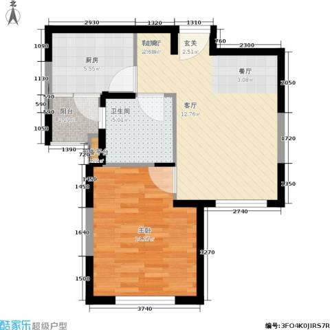 嘉实上城名都1室1厅1卫1厨54.00㎡户型图