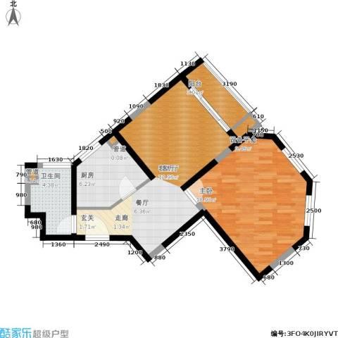 嘉实上城名都1室1厅1卫1厨64.00㎡户型图