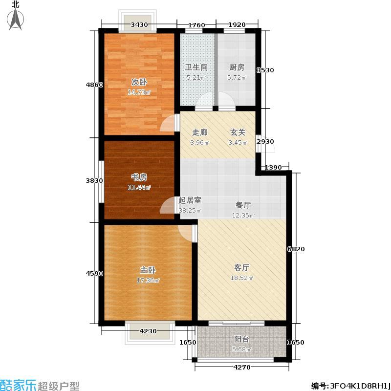 盛世清华园111.20㎡30#四单元西一户3室户型
