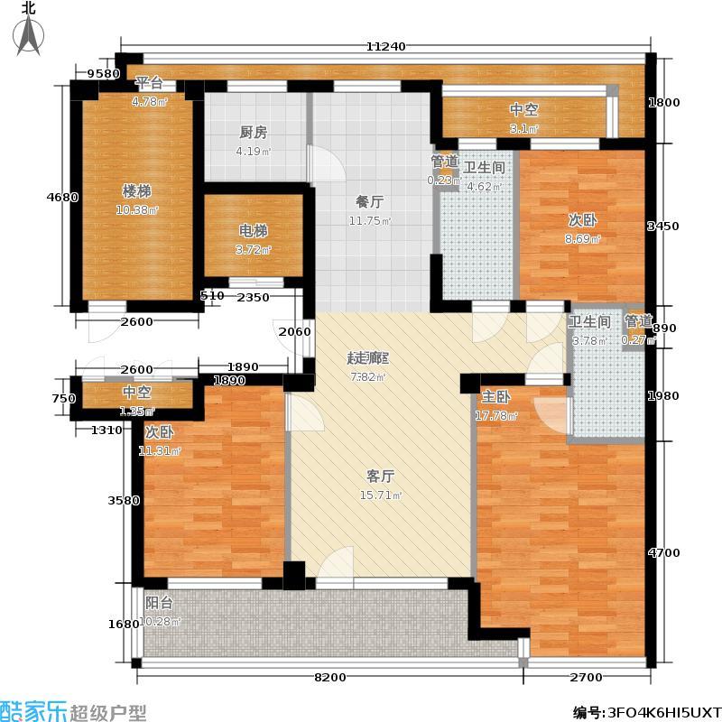 绿城百合花园140.00㎡三室两厅两卫户型3室2厅2卫