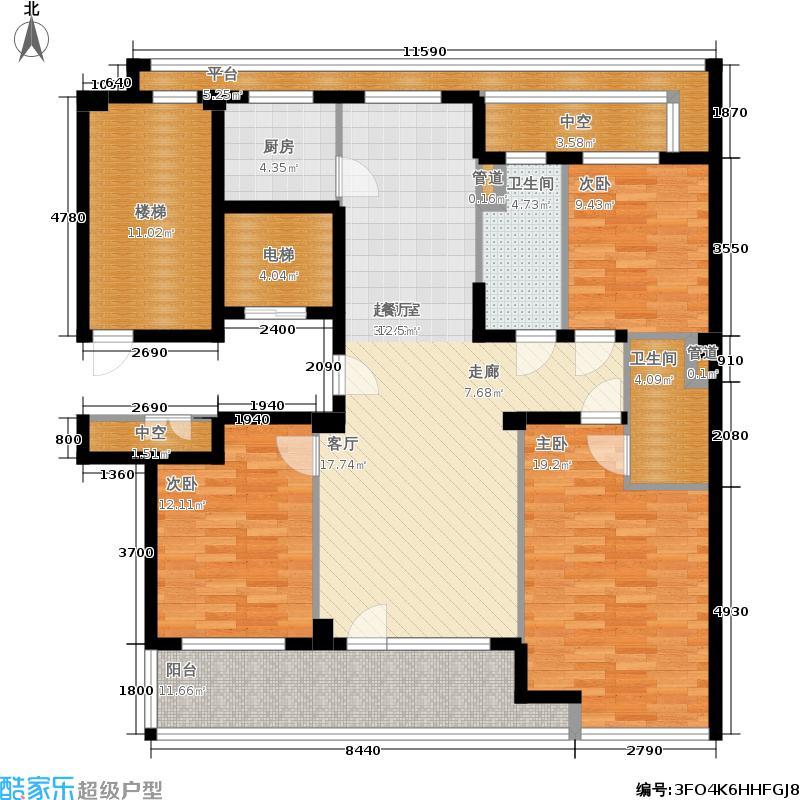 绿城百合花园140.00㎡D9号楼西户 三室两厅两卫户型3室2厅2卫