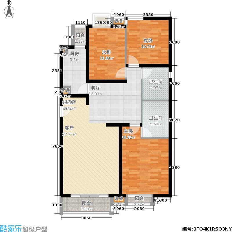 星河城(玺萌公馆)星河城三期19号楼K-2户型3室2厅