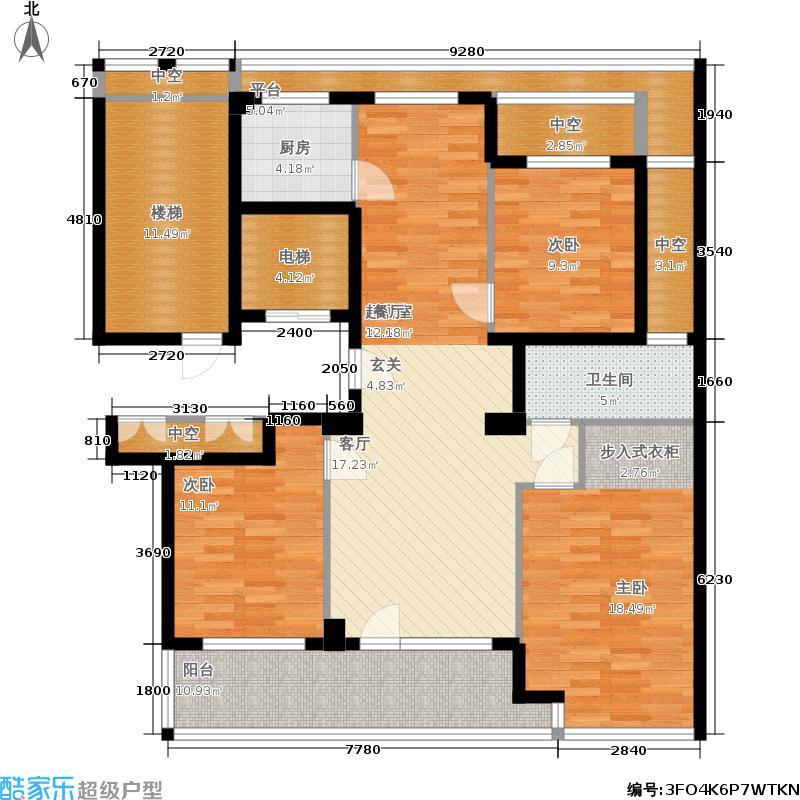绿城百合花园125.00㎡D5号楼 三室两厅一卫户型3室2厅1卫