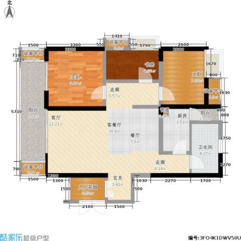绵阳CBD万达广场3室1厅1卫1厨99.00㎡户型图