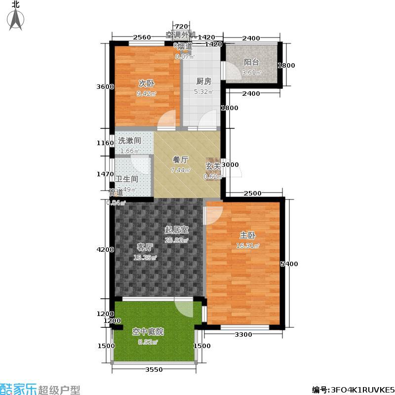 北一街8号(高教新城)90.00㎡高教新城惠风园W边4号楼户型2室1厅